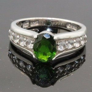 Deep Forest Green & CZ Stone Sterling Silver Ring